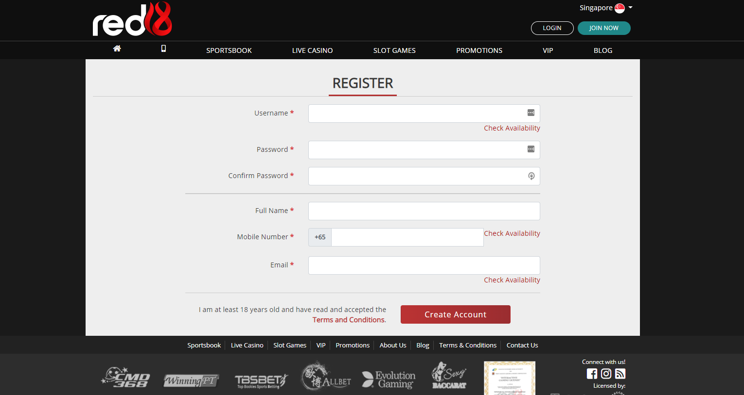 register at red18
